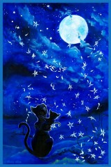 Cats and the moon - Giclée auf Papier