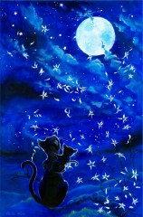 Cats and the moon - auf Leinwand
